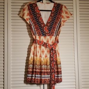 A line mini wrap dress
